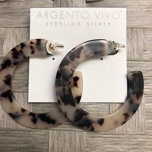 Sterling silver, Acrylic Hoop earrings.